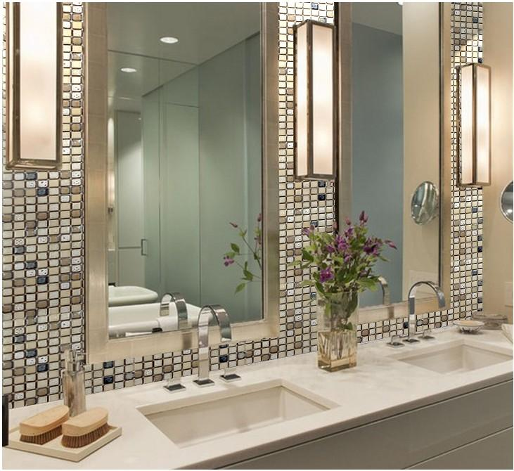 Exceptional Porcelain Mosaic Tile Mirror Wall Border Sticker SD001 S1 Great Ideas
