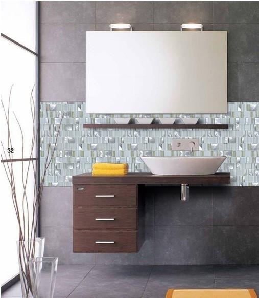 Metal Glass Tile Bathroom Wall Backsplash MG007 S1