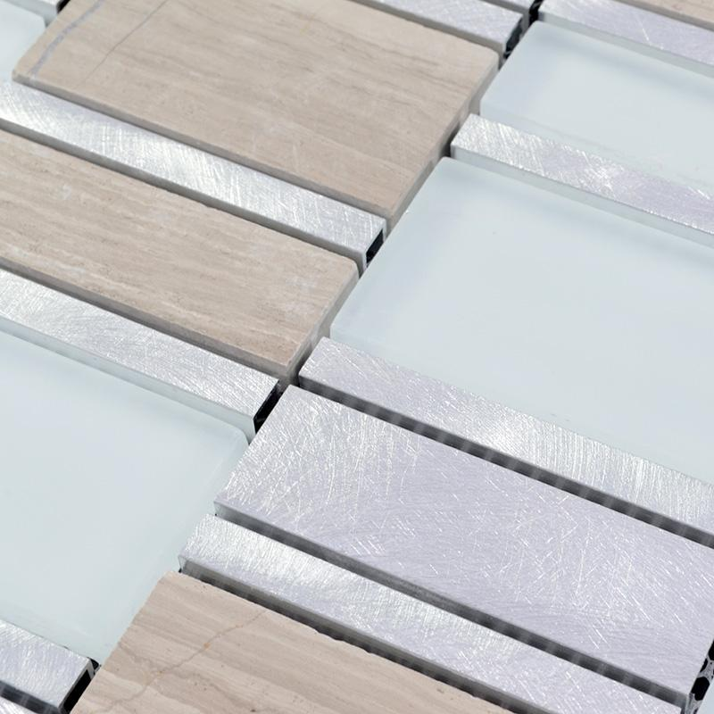 crystal glass tile blend metal mosaic MG011-1