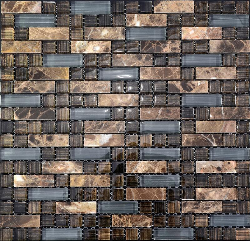 glass stone mosaic tile natural stone glass interlocking tile SG077