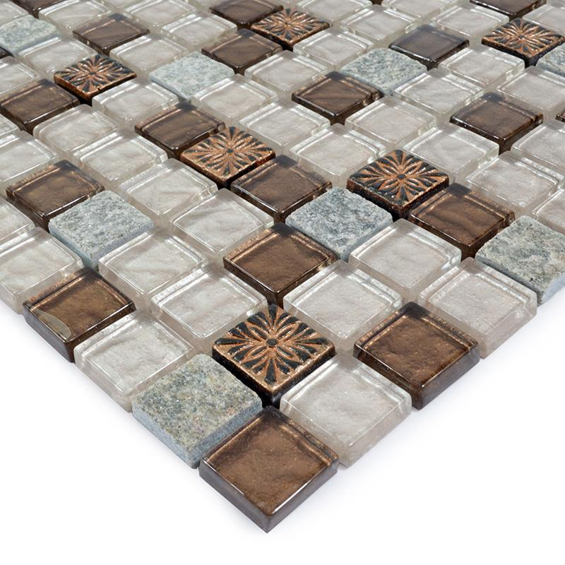 crystal glass tile natural stone glass blend mosaic wall tile SG117