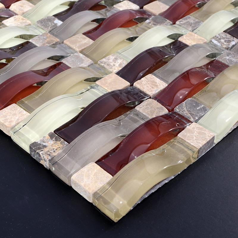 Interlocking Stone Tile Glass Mosaic Tiles Sg135 3