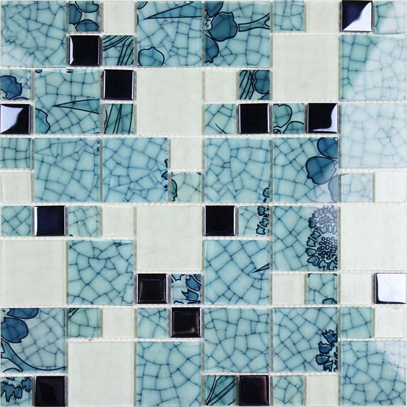 Glass mosaic wall art murals blue and white glass tile Mosaic kitchen wall tiles ideas