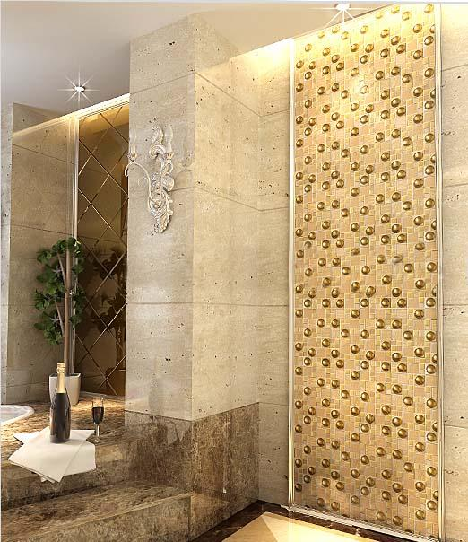 Glazed Porcelain Tiles Gold Crystal Glass Mosaic Tile