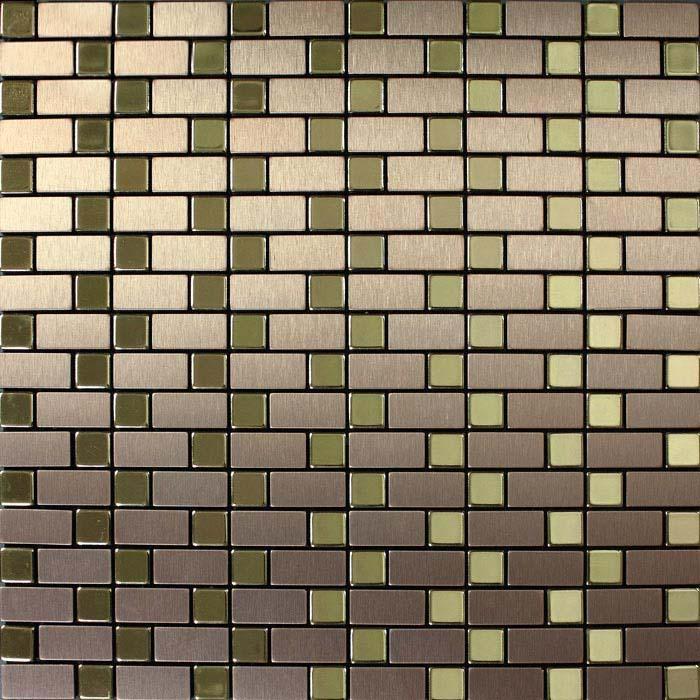 brushed metallic mosaic tiles stainless steel kitchen backsplash 9102