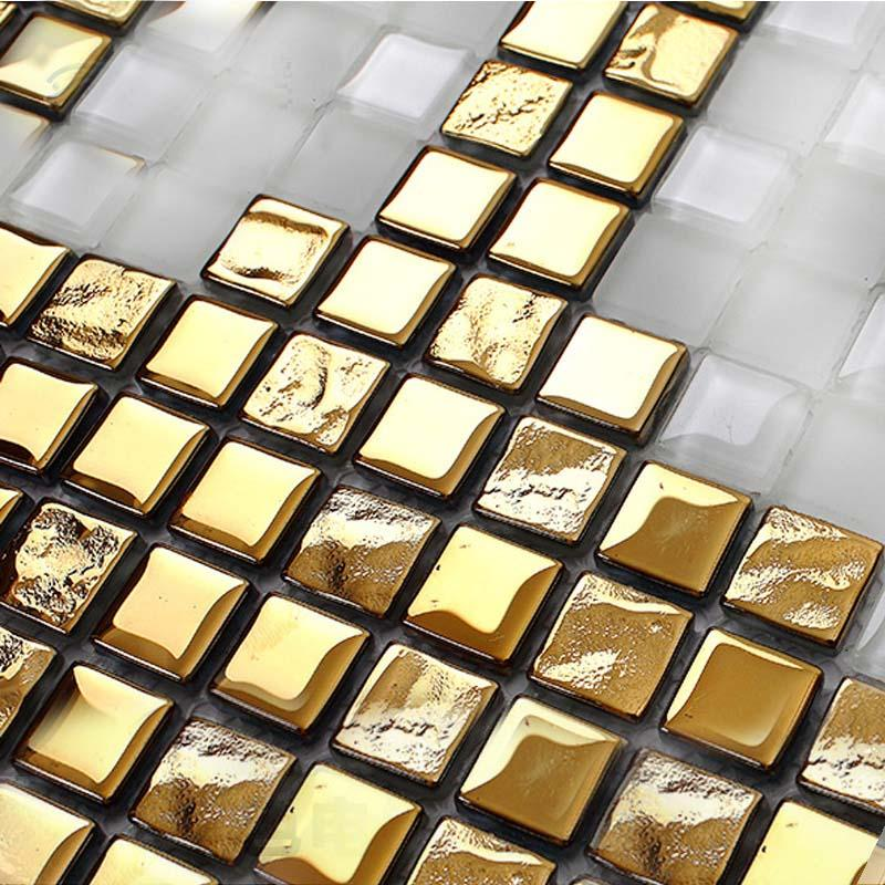 crystal mosaic tile patterns 15x15mm gold glass tile backsplash 2131
