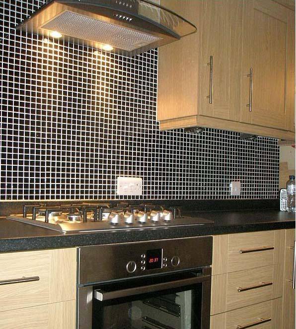 Black Porcelain Mosaic Tile For Kitchen Wall Stickers HB 009 S2