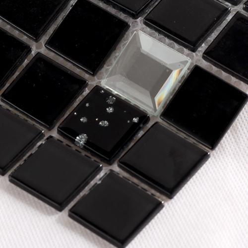 black with silver diamond glass mosaice tiles 10044-3