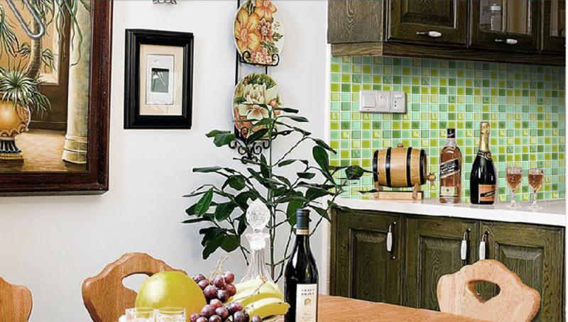 glass mosaic tiles kitchen backsplash bathroom wall sticker ...