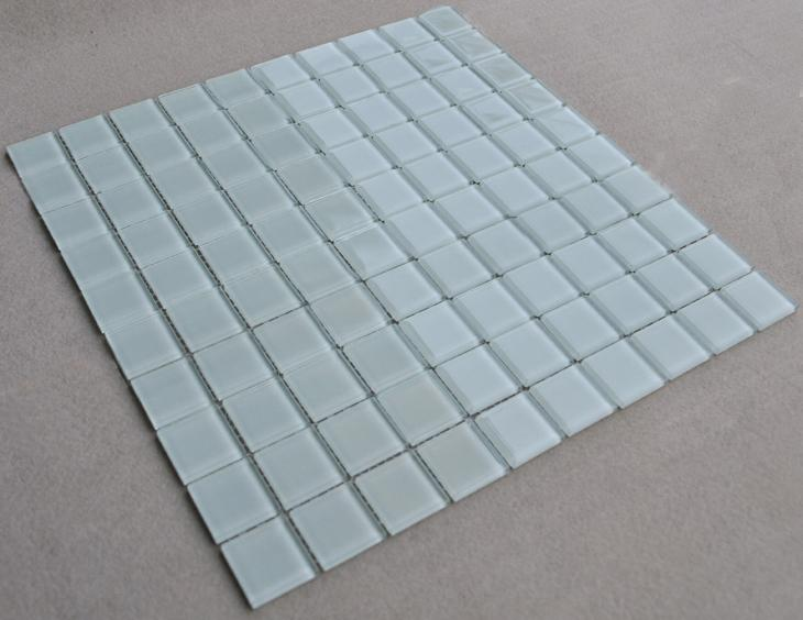 white crystal mosaic tiles