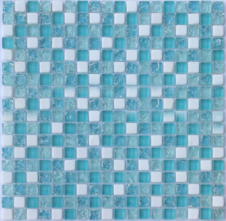 Crackle Glass Mosaic Tile Backsplash Blue Stone