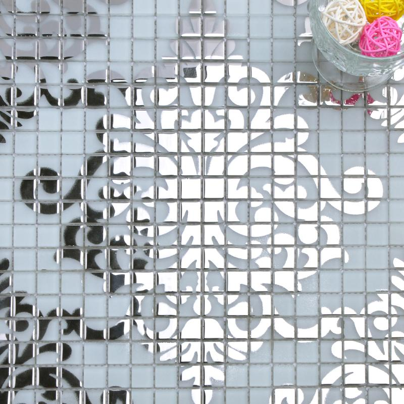 silver frosted puzzle glass mosaic tiles tile sheets clearance cheap shower