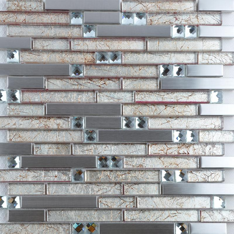 Glass Mosaic Tile Backsplash Interlocking Metal Glass Diamonds T004