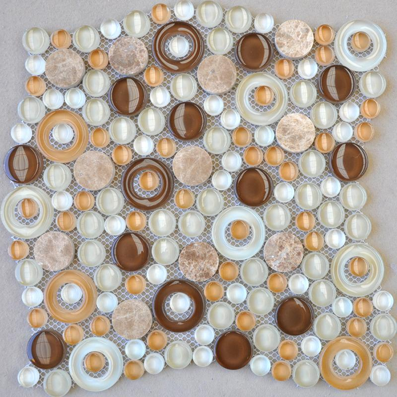 penny round crystal glass mosaic tile xf30042