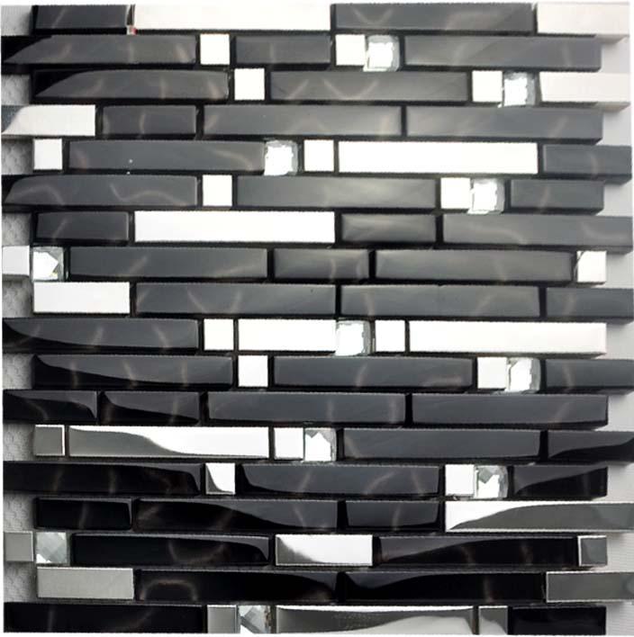 glass tile backsplash interlocking metallic mosaic diamonds 2-33