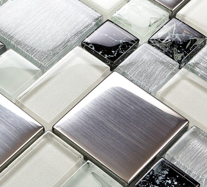 Brushed Stainless Steel Crackle Crystal Glass Tile Ls53 1