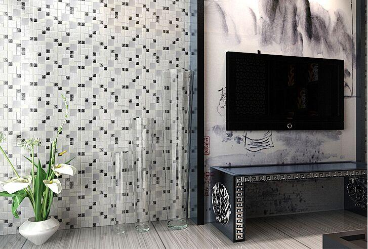 Brushed Stainless Steel Crackle Crystal Glass Tile Ls53 5