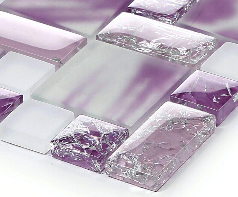 Crackle crystal glass wall tiles mh01 mosaic tile for Purple glass bathtub