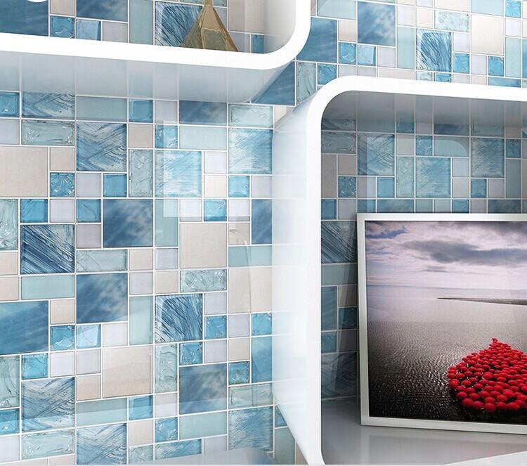 brushed stainless steel backsplash crackle crystal glass tile MH10
