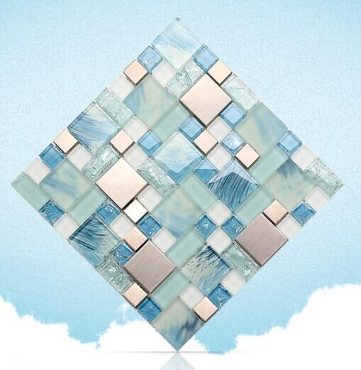 Stainless Steel Crackle Crystal Glass Tile Backsplash Mh10 5