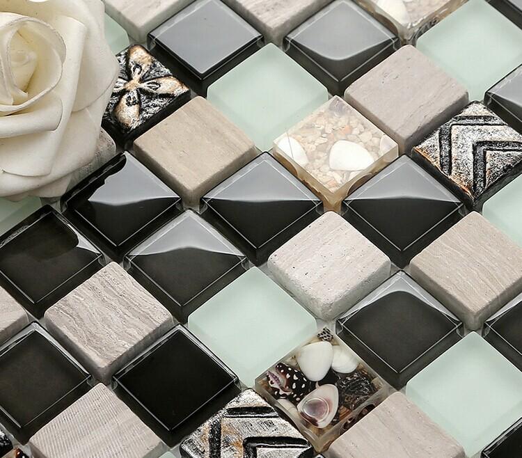 Ceramic Glass Tile Backsplash Crystal Glass Mosaic Tiles B974 1