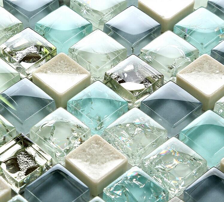 ceramic glass tile backsplash kitchen crackle crystal glass wall tiles  SPS88-7