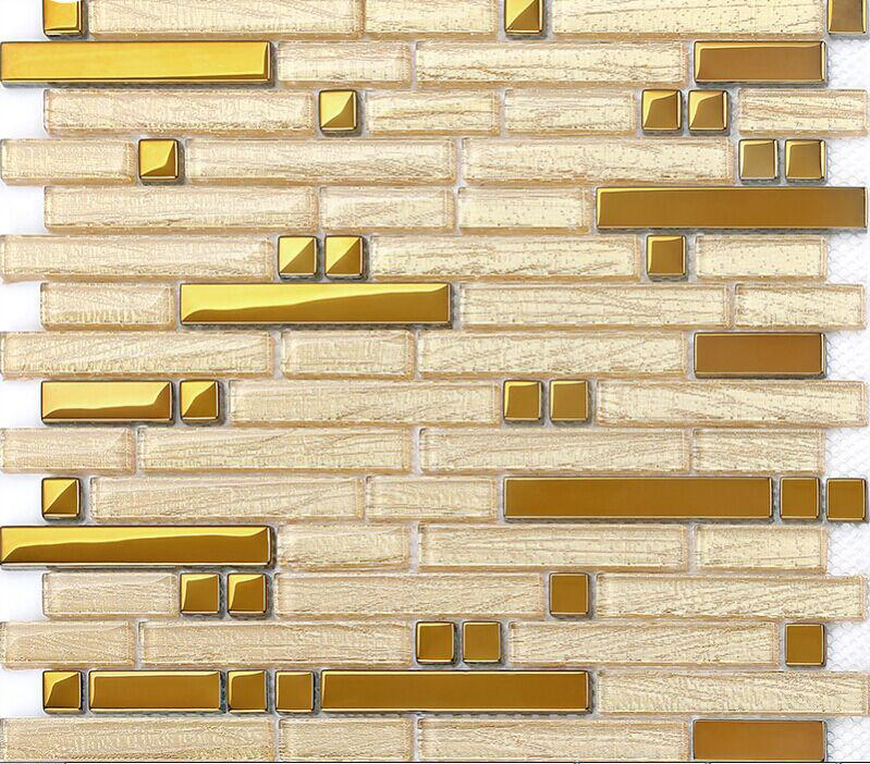 stainless steel and crystal glass blend mosaic wall tiles B902