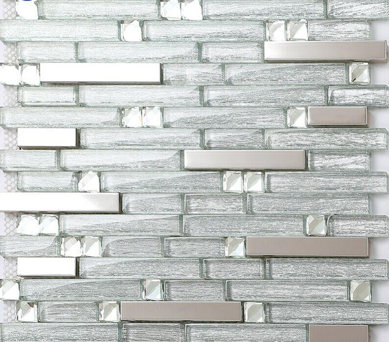 stainless steel and crystal glass blend mosaic wall tiles B903