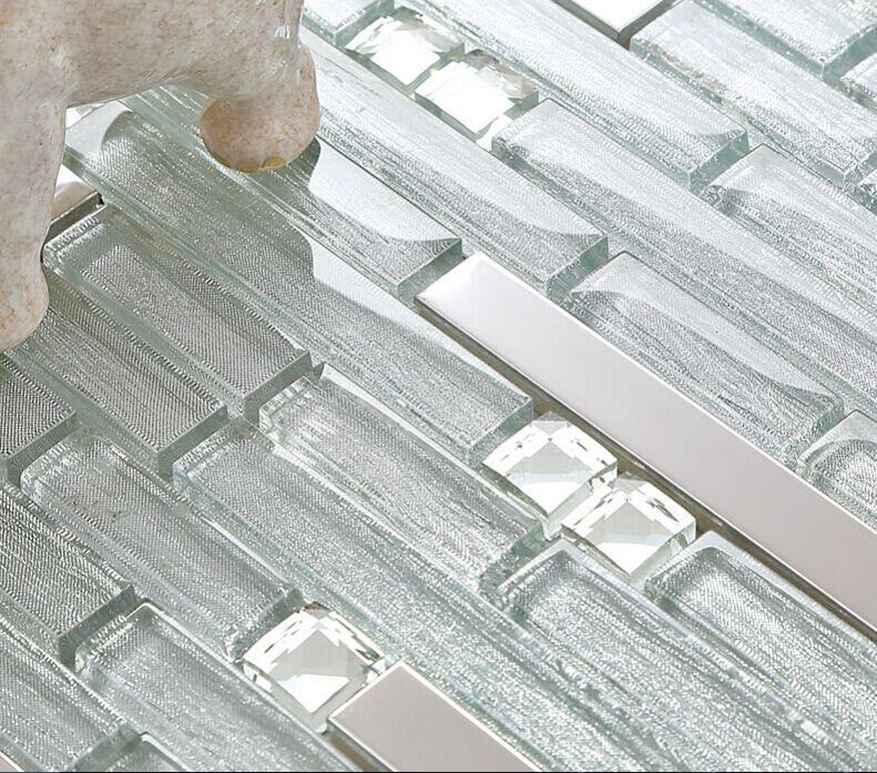 metallic tile backsplash kitchen B903