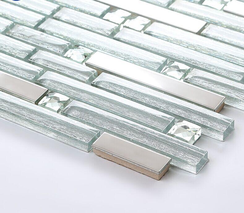 Crystal mosaic glass tile diamond tiles B903