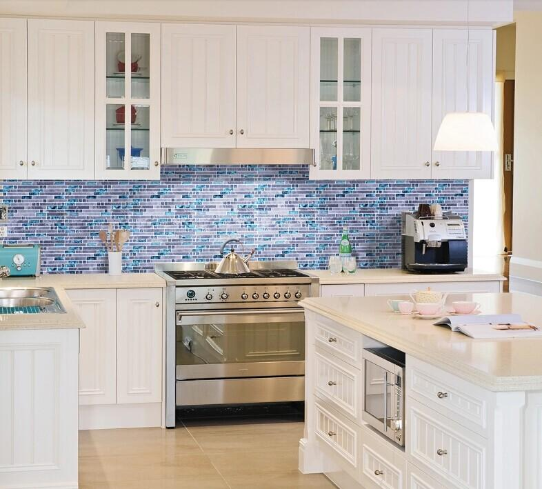 stone glass mosaic tile kitchen backsplash N008-S1