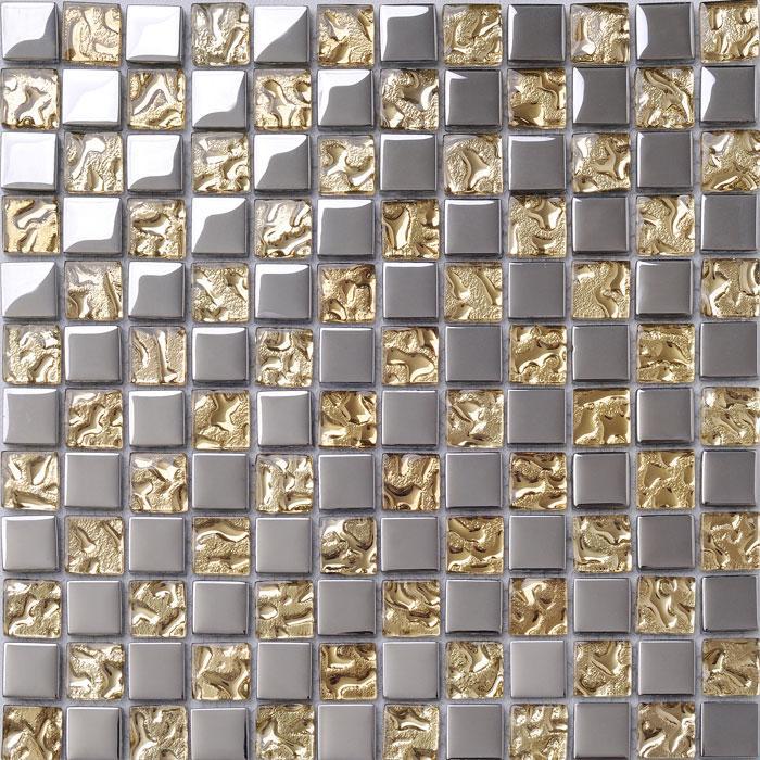 Wholesale Crystal Glass Tiles Sheet Square Mosaic Tiling Art Metal Ele